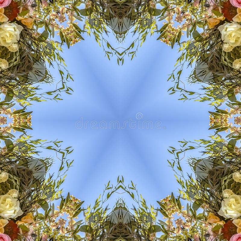 方形的通报和有角花卉设计与五颜六色的花从婚礼 皇族释放例证