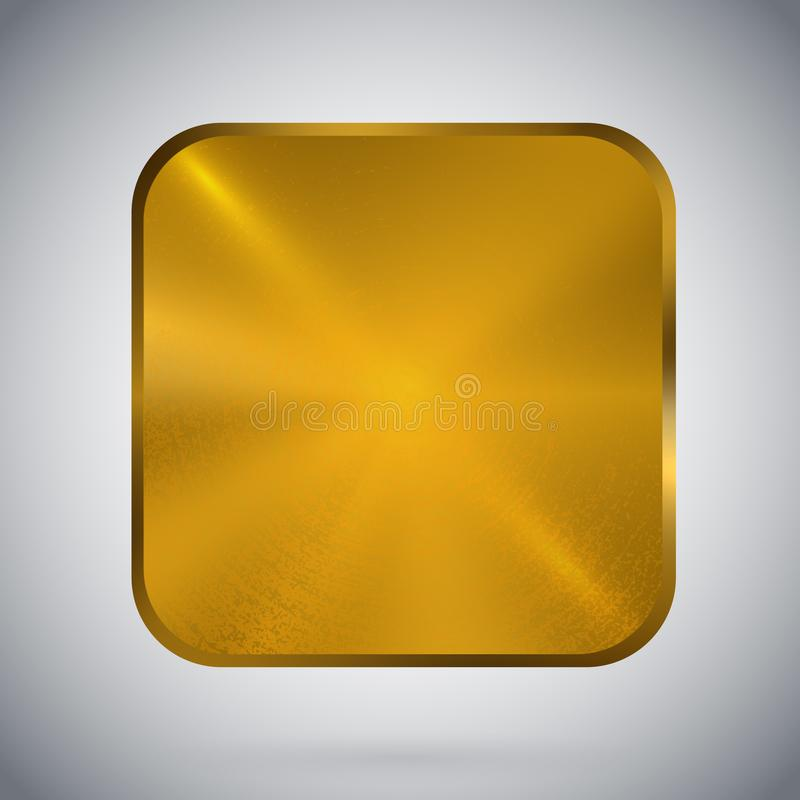 方形的金属按钮模板反射性金子 向量例证