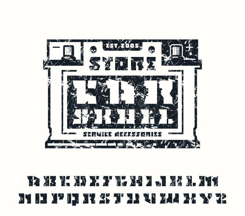 方形的钢板蜡纸板材细体字体和汽车为象征服务 库存例证