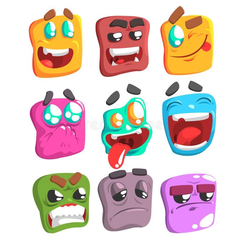 方形的面孔五颜六色的Emoji集合 库存例证