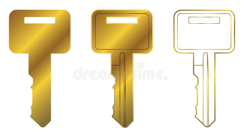 方形的顶头共同的议院钥匙向量图形集合 库存例证