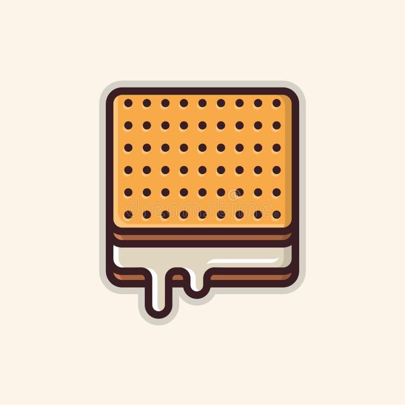 方形的饼干线艺术象 皇族释放例证