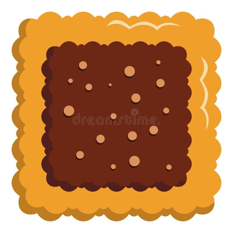 方形的饼干象,平的样式 向量例证