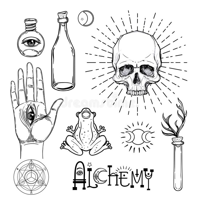 方术标志象集合 灵性,秘密主义,化学, mag 皇族释放例证