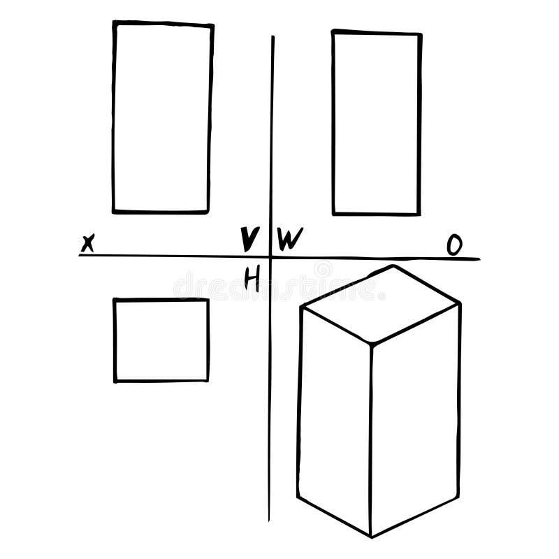 方柱体的投射 剪影,手图画 在白色背景的黑概述 r 库存例证