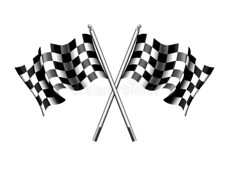 方格的旗子马达赛跑,体育、开始或者结束 向量例证