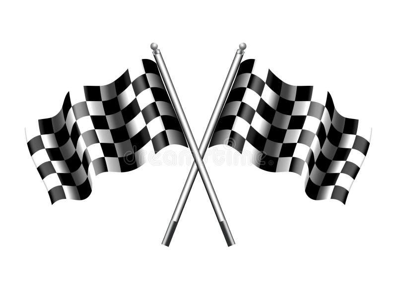 方格的旗子,方格旗子马达赛跑 向量例证