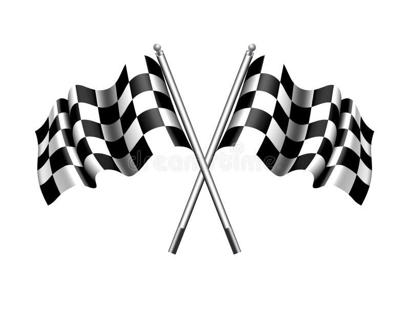 方格的旗子,方格的旗子马达赛跑的体育 库存例证