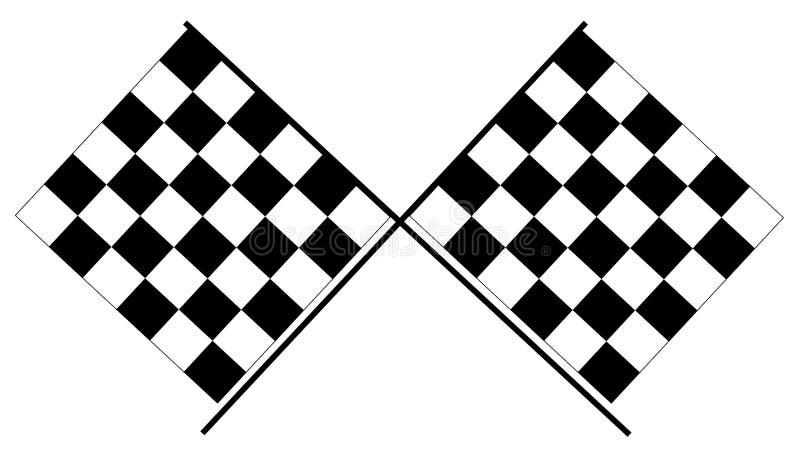 方格的旗子-黑白赛跑的旗子 皇族释放例证