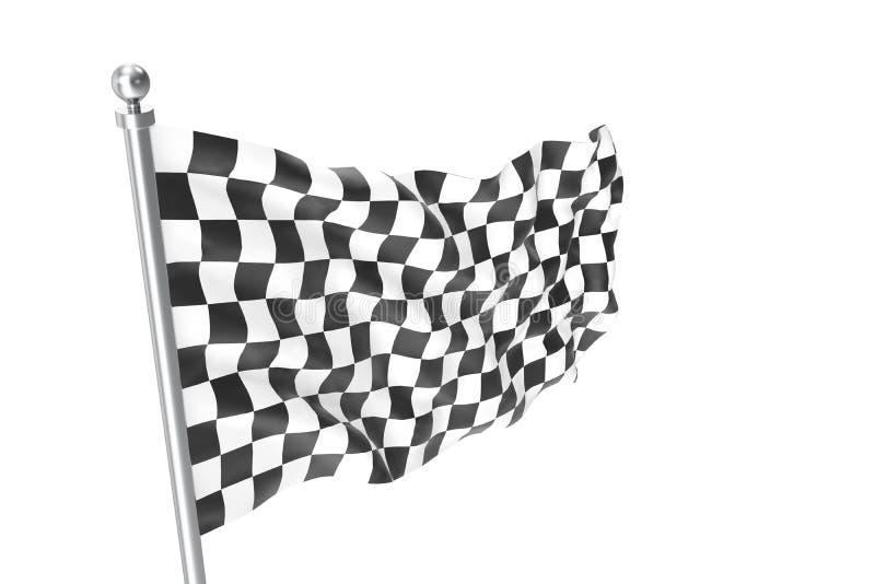 方格的标志 赛跑旗子, 3d在白色隔绝的翻译 库存例证