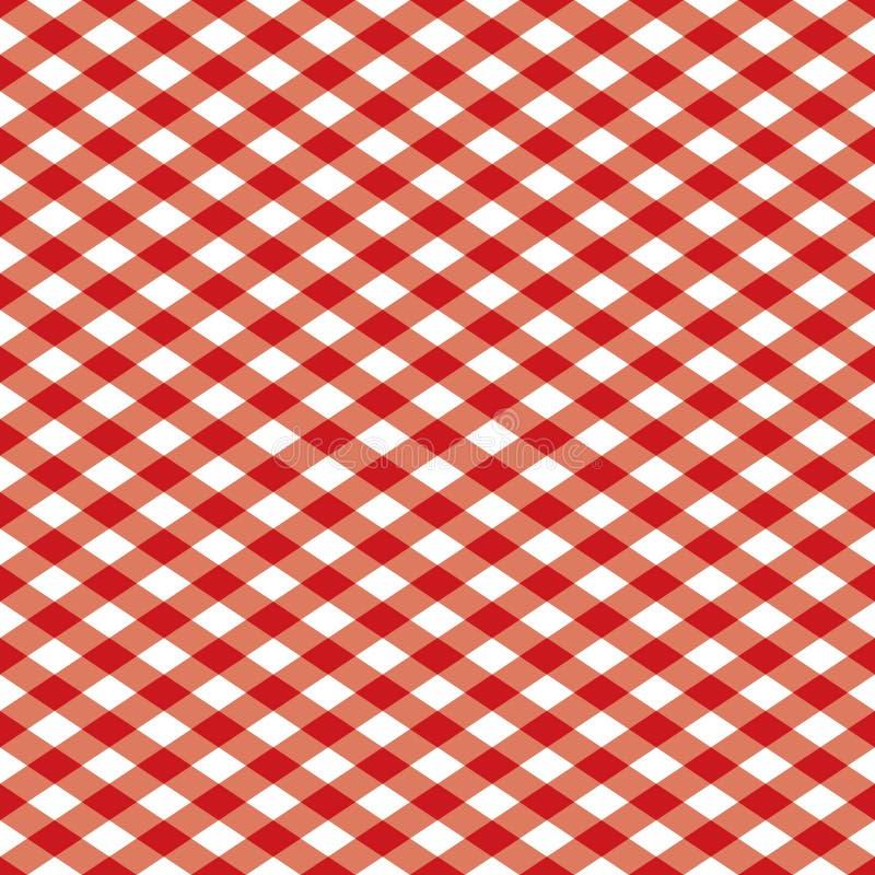方格的模式红色白色 向量例证