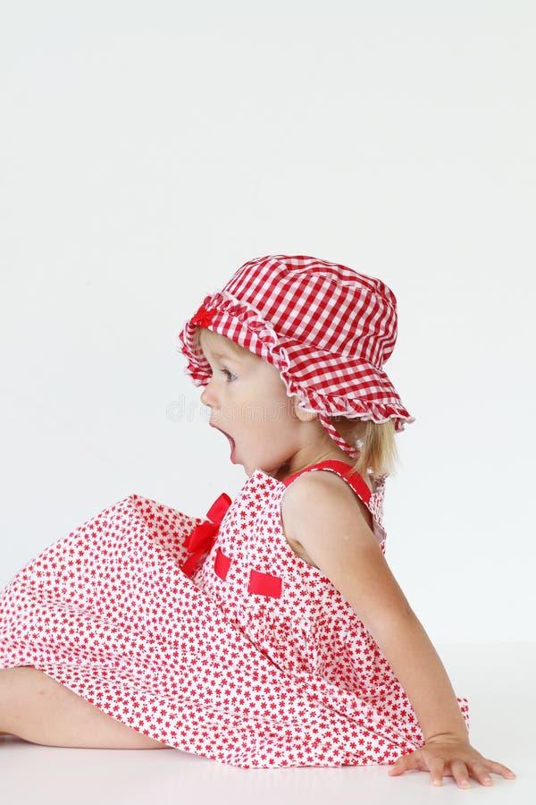 方格的礼服的女孩 库存照片