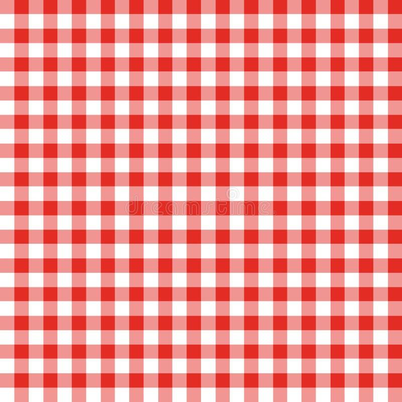 方格的织品红色白色 向量例证
