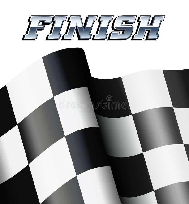 方格的结束,方格的旗子马达赛跑的体育 向量例证