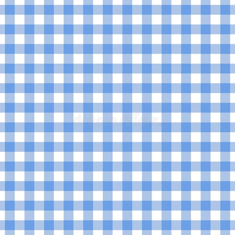 方格的蓝色桌布无缝的样式 方格花布格子花呢披肩设计背景 皇族释放例证