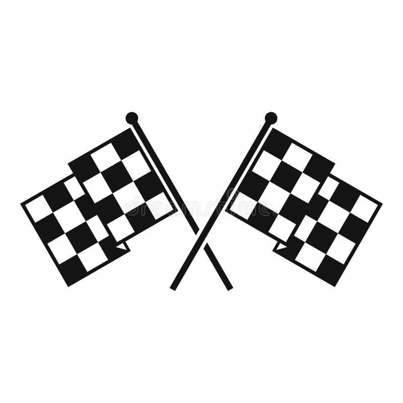 方格的赛跑的旗子象,简单的样式 库存例证