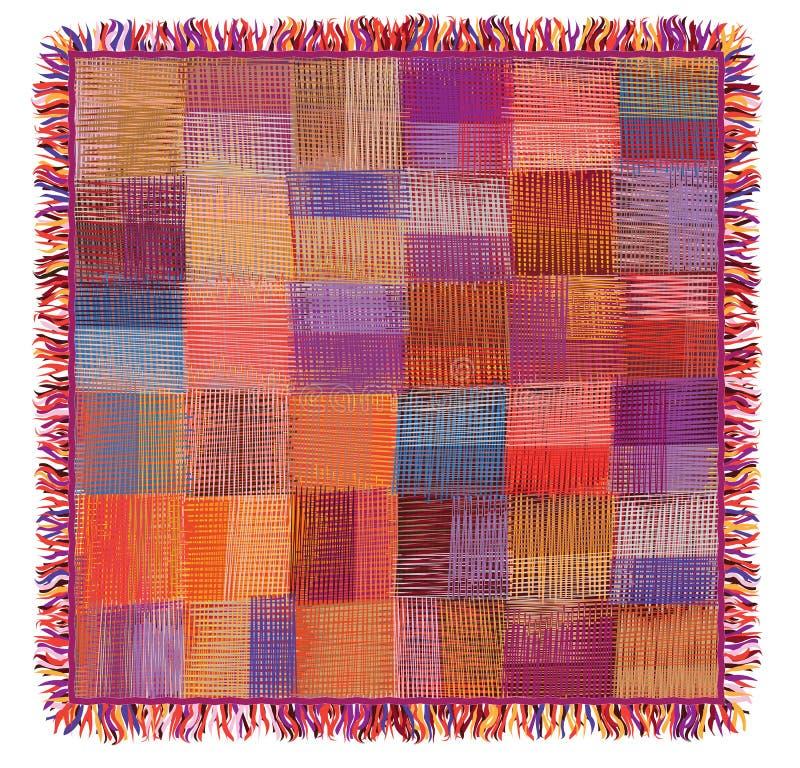 方格的难看的东西镶边和,缝制,编织有边缘的五颜六色的格子花呢披肩 库存例证