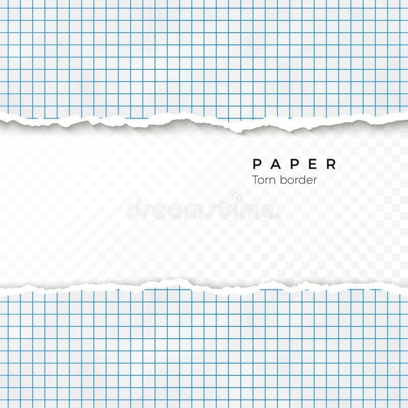 方格纸被撕毁的边缘  方格纸被撕毁的张从笔记本的 在透明背景隔绝的空白页 向量 皇族释放例证