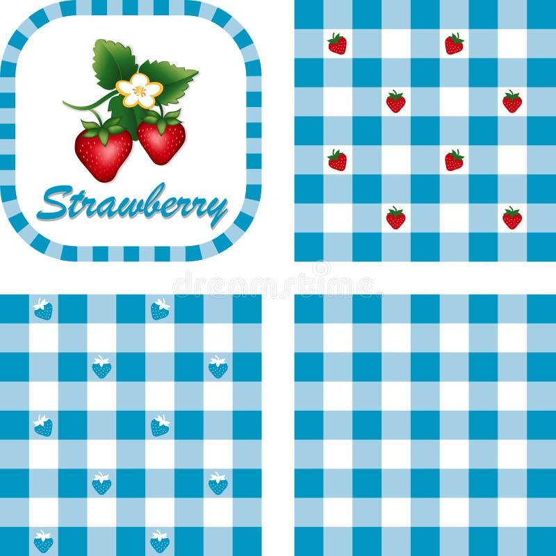 方格花布仿造无缝的草莓 皇族释放例证