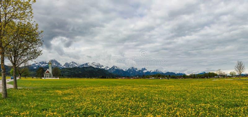 施万高邻里的谷的看法在巴伐利亚 免版税图库摄影