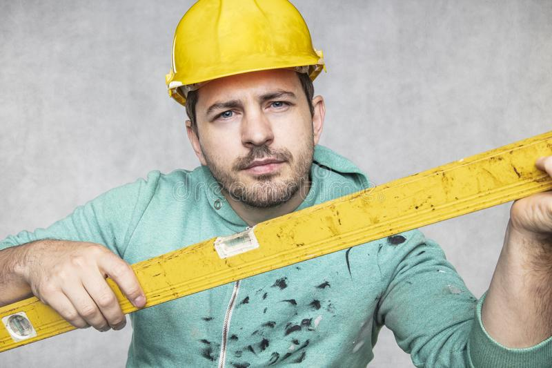 施工者掌握施工中的精神层次和精确性 库存照片