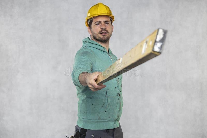 施工者掌握施工中的精神层次和精确性 图库摄影