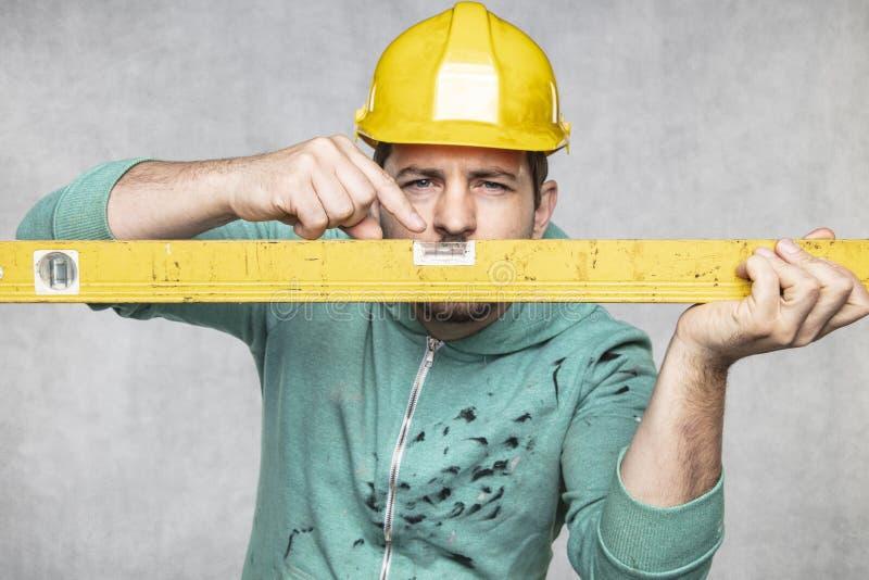 施工者掌握施工中的精神层次和精确性 库存图片