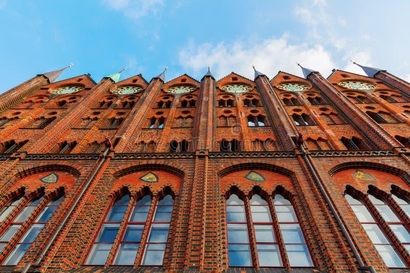 施特拉尔松德,德国历史市政厅  免版税库存图片