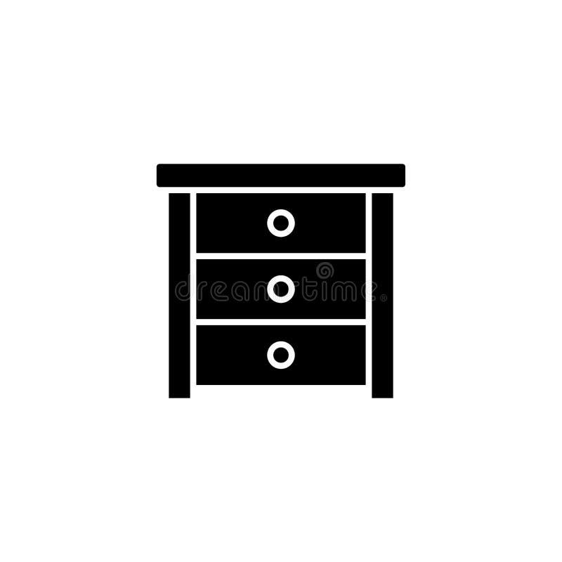 旁边桌黑色象概念 旁边桌平的传染媒介标志,标志,例证 库存例证
