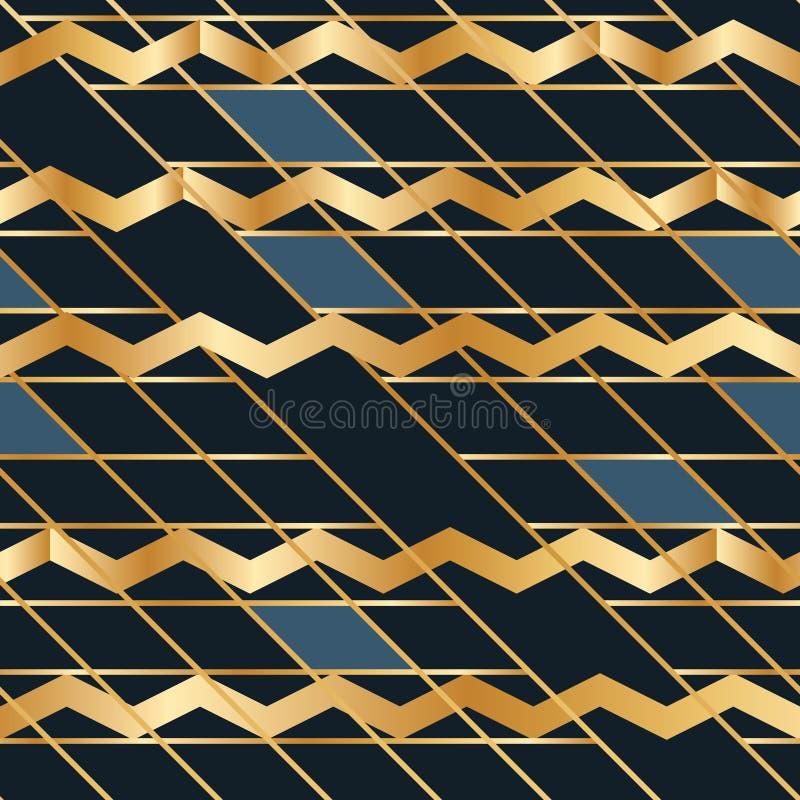 旁边金黄蓝色方形的雪佛干扰无缝的样式 向量例证