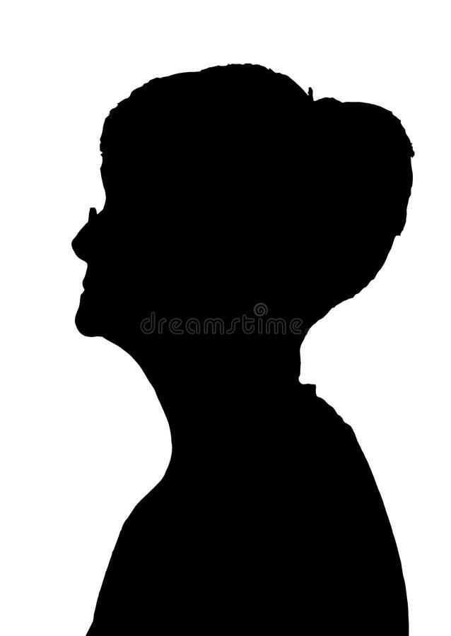 旁边戴眼镜的外形画象剪影年长夫人 向量例证