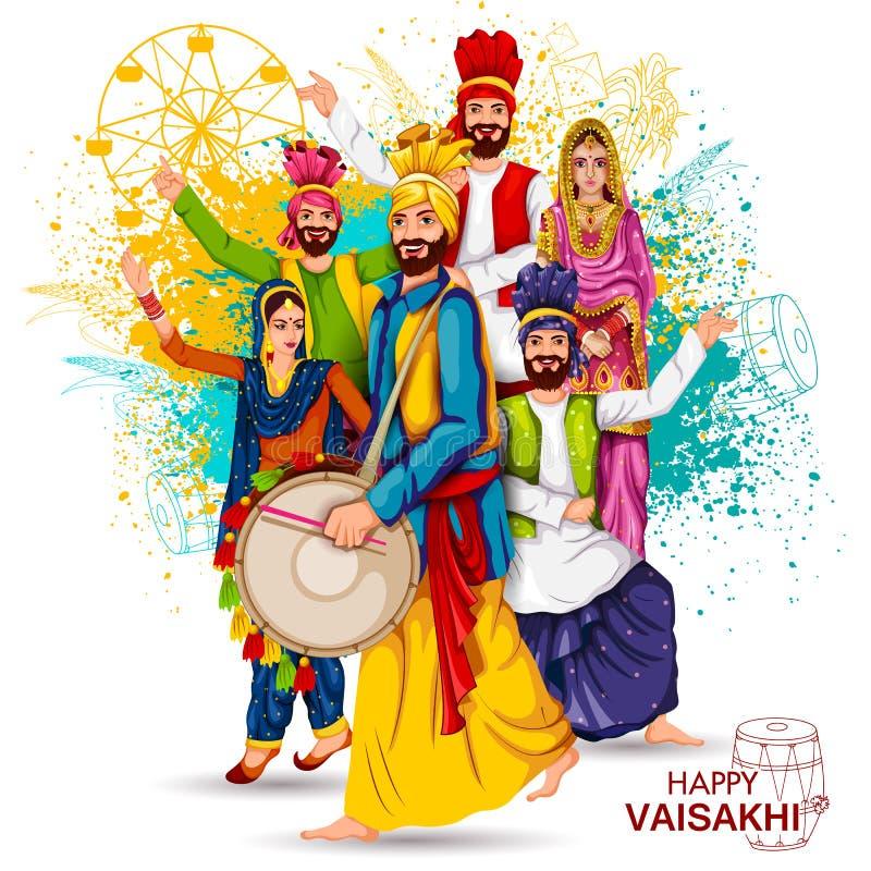 旁遮普人节日Vaisakhi背景的庆祝 向量例证