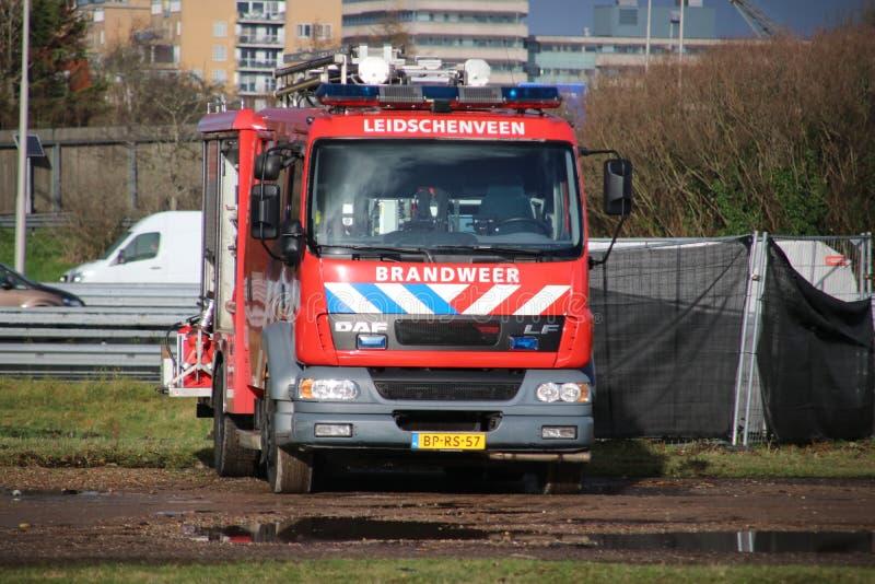 旅团Haaglanden的消防车在Leidschenveen小室Haag在海牙 免版税库存照片