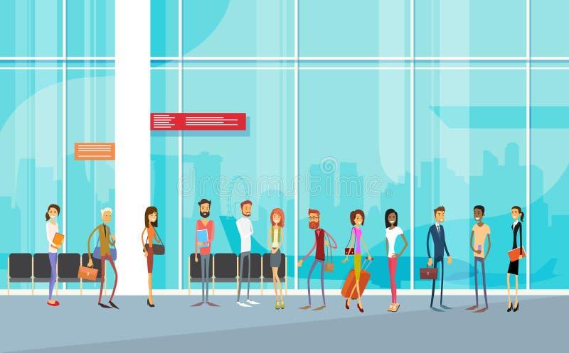 旅客人机场霍尔离开终端旅行行李,乘客登记行李 库存例证
