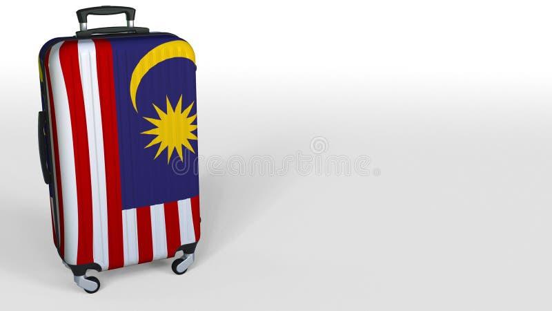旅客以马来西亚的旗子为特色的` s手提箱 renering马来西亚的旅游业概念性3D,说明的空白 皇族释放例证