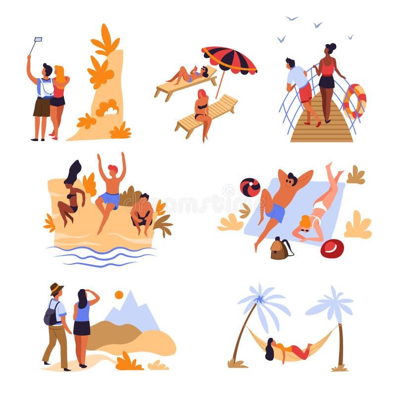 旅客使山和海远航假期和假日靠岸 皇族释放例证
