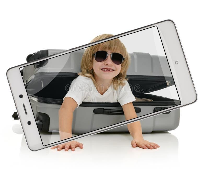 旅客照片在屏幕上的 图库摄影