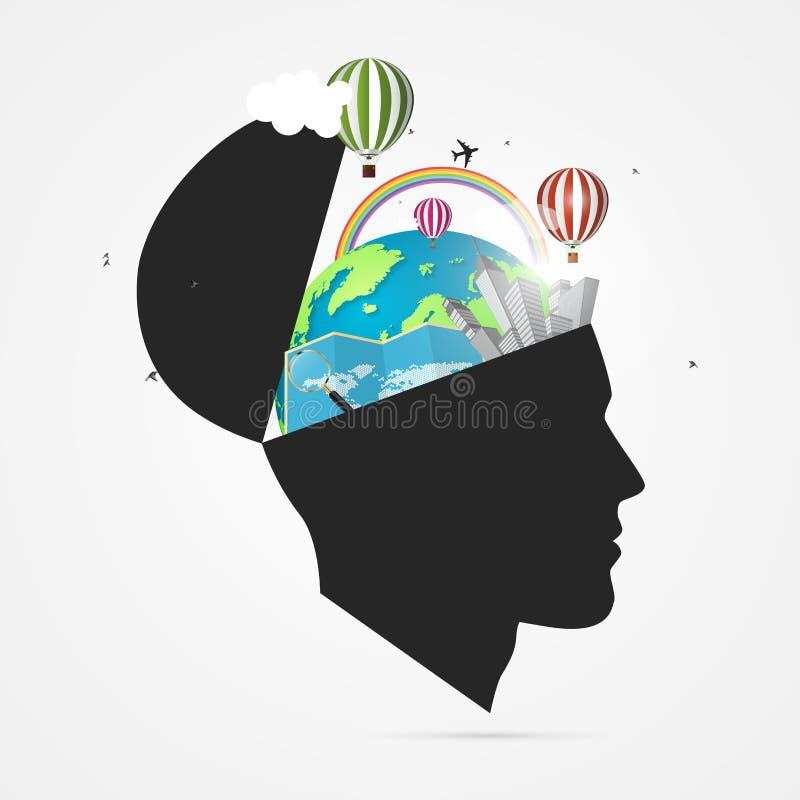 旅客的头脑 与开放头的创造性的概念 向量 向量例证