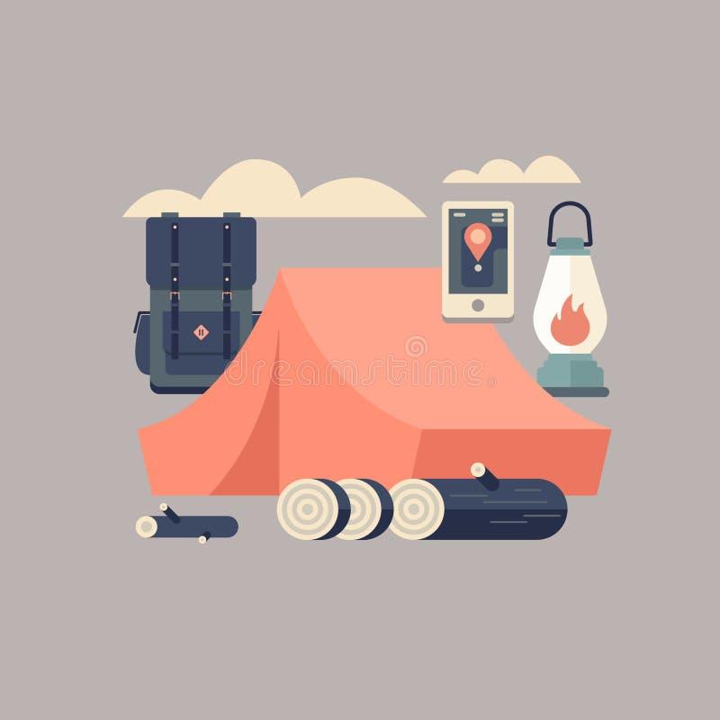 旅客的成套装备:帐篷,灯笼,导航员,背包,木柴 免版税库存图片