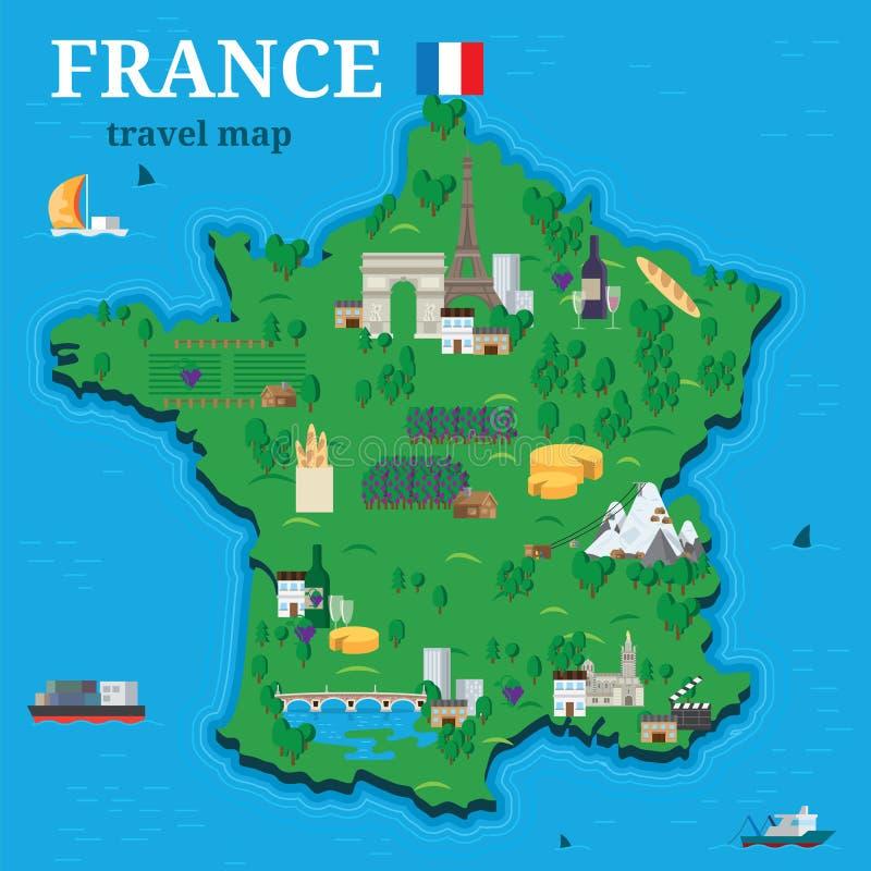 旅客的法国地图有地方旅游胜地传染媒介设计平的样式的.图片