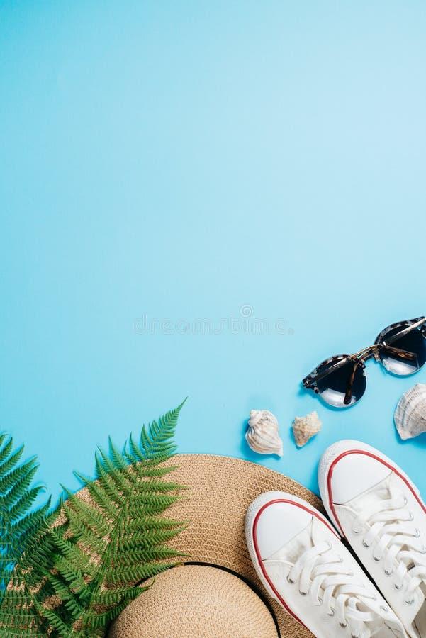 旅客辅助部件、热带蕨叶子分支、帽子、太阳镜、鞋类和贝壳在蓝色背景 库存照片