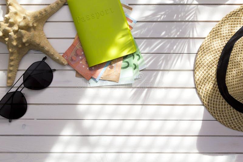 旅客辅助部件,与现金金钱欧元,在白色背景的热带棕榈叶分支的护照与文本的空的空间 库存照片