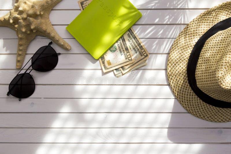 旅客辅助部件,与现金金钱美元,在白色背景的热带棕榈叶分支的护照与空的空间为 图库摄影