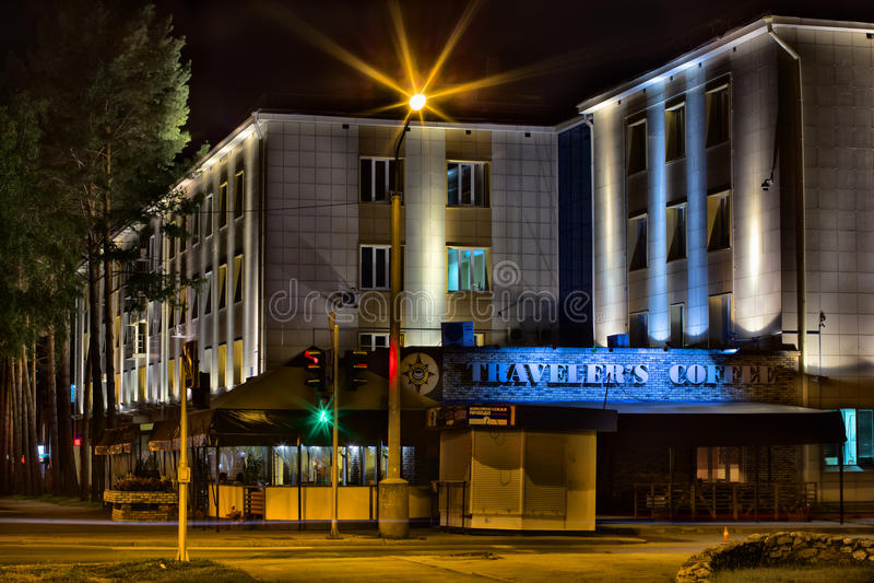 旅客` s咖啡和行政大厦 库存照片