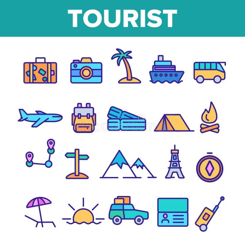 旅游业和旅行在世界传染媒介线性象集合附近 向量例证