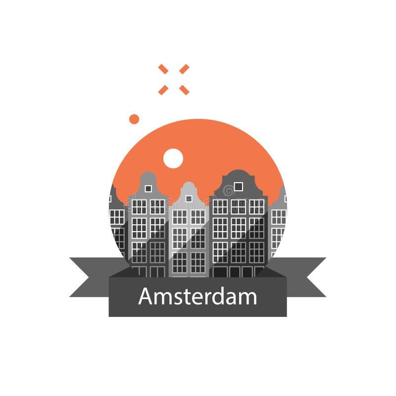 旅游业在欧洲,荷兰旅行目的地,房子阿姆斯特丹行,都市风景,都市建筑学,邻里地平线 皇族释放例证