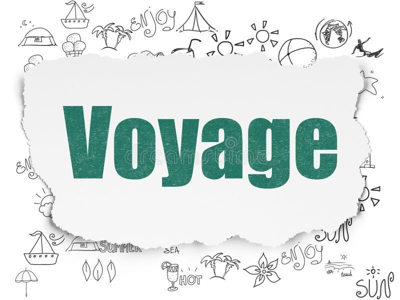 旅游业概念:在被撕毁的纸背景的远航 向量例证