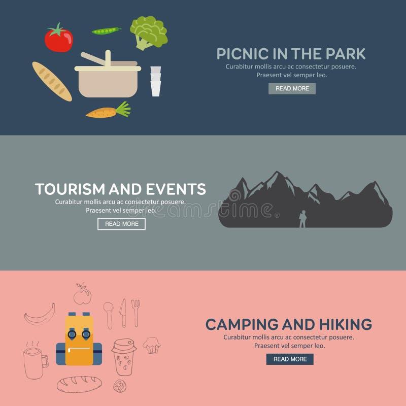旅游业的平的设计观念 向量例证
