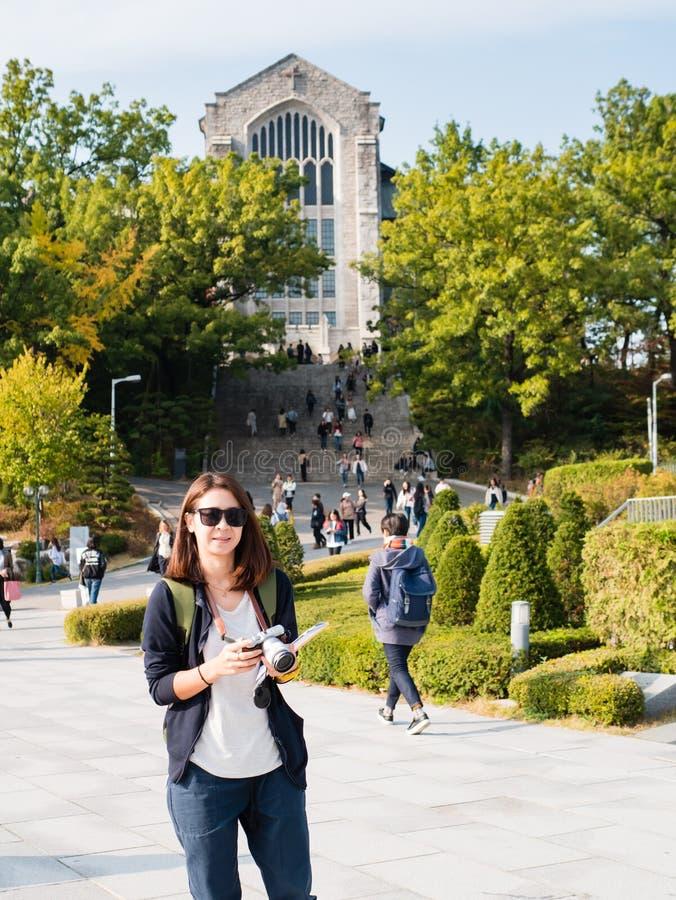 旅游参观的Ehwa妇女大学 库存照片