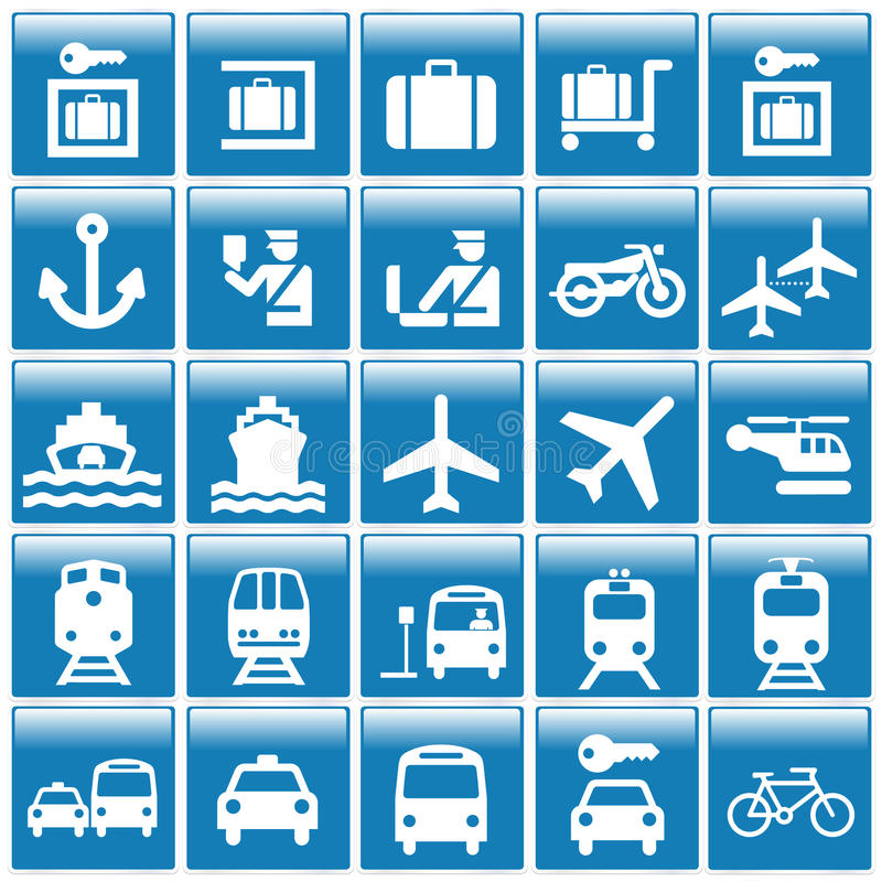 旅游图标的地点 库存例证
